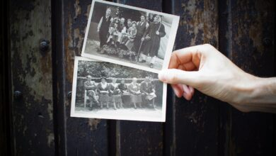 Hand holding old photographs