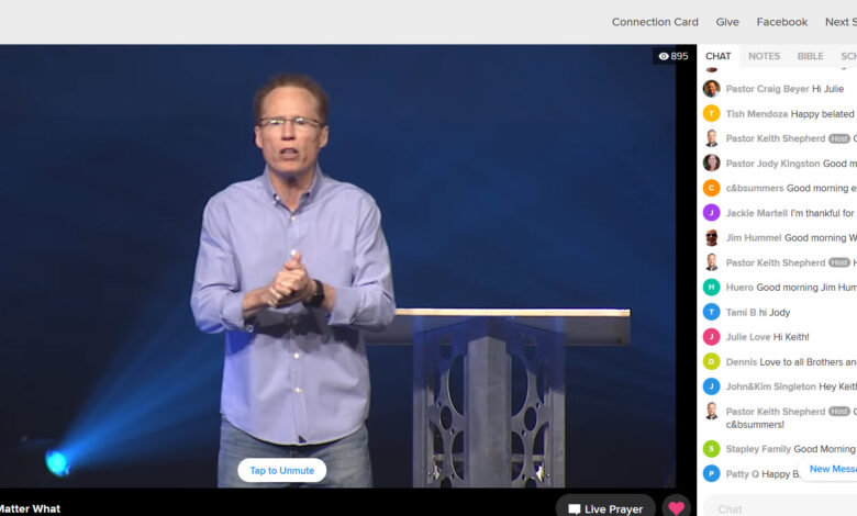 Screen shot of live church service with chat enabled