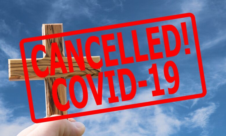Illustration of church cancelled for COVID-19