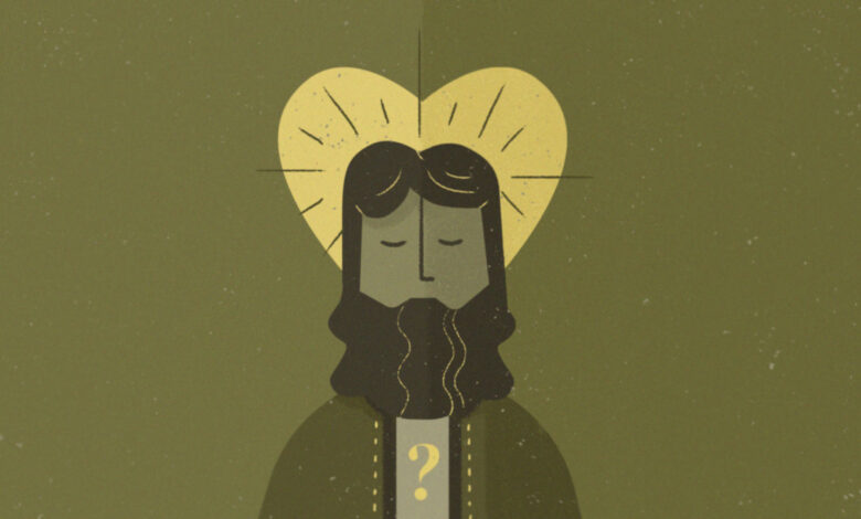 Drawing of Jesus imposed over a heart