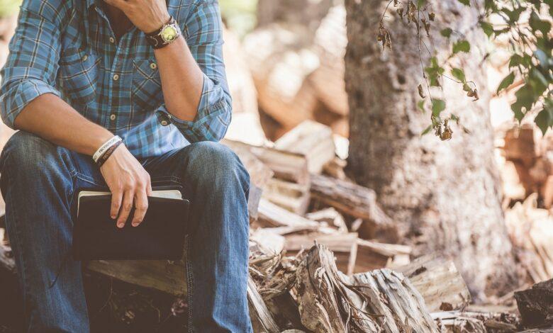 Image of man in solitude prayer