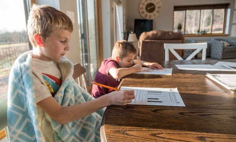 Picture of two kids stuying at home