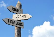Image of three signs pointing to right or wrong or it depends