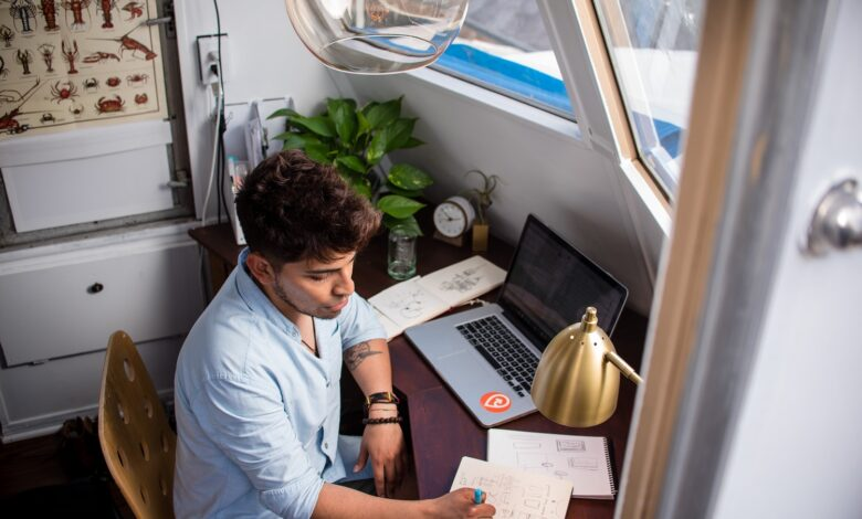 Image of man working from home