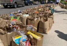 Image of bags of groceries lining street