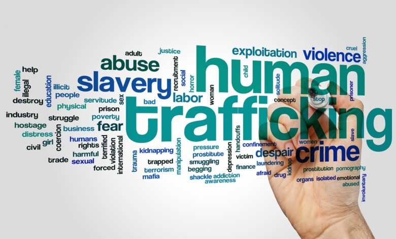 Image of words associated with human trafficking