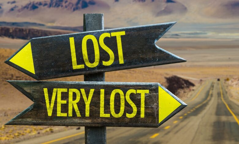 Signs depicting being lost vs very lost