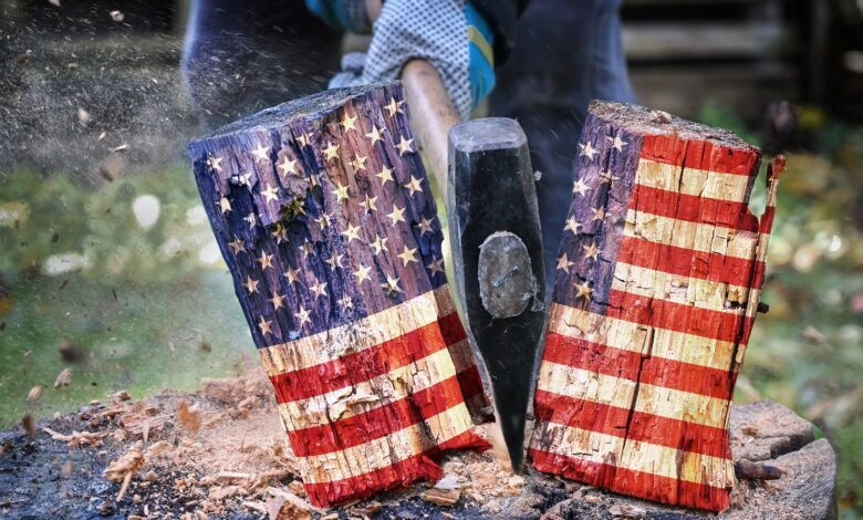 Image of axe splitting flag-colored wood