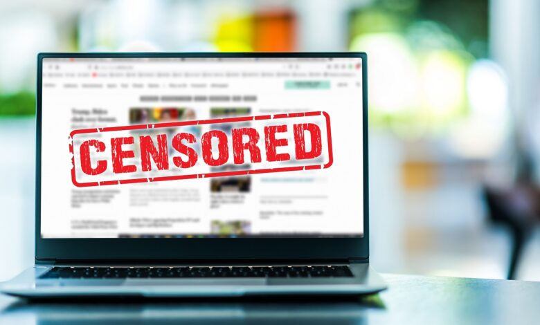 Image of censored online content