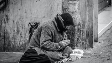 Picture of homeless person in winter