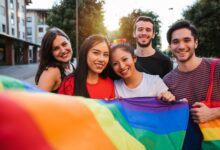 Image of young people with LGBT flag