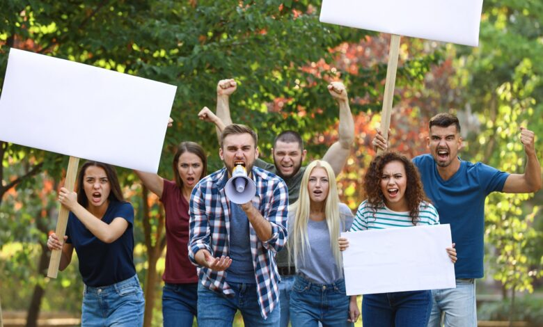 Picture of an angry mob protesting