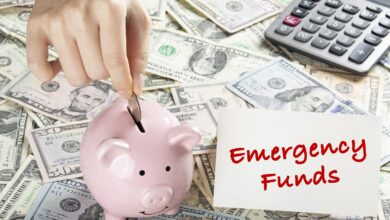 Image of a piggy bank with cash for an emergency fund