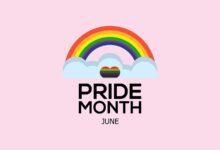 Image of rainbow proclaiming Pride Month