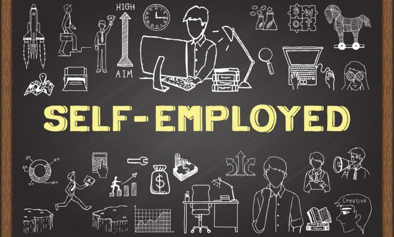 Image of a doodle of tyes of self-employement work.