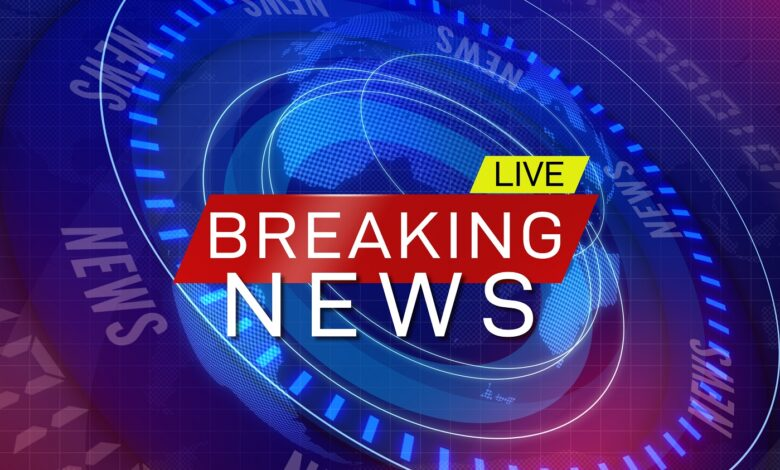Image of a breaking TV news graphic