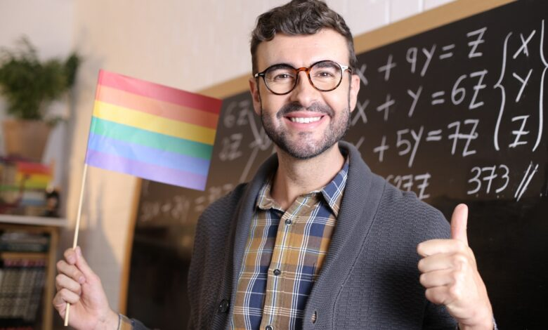 Image of a teacher promoting LGBT in math class