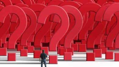 Image of a man staring at many question marks