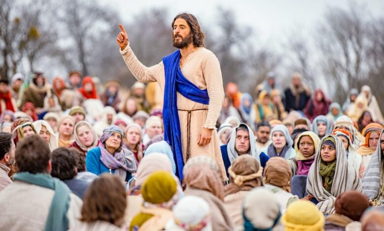 Image of Jesus delivering his famous sermon on the mount.
